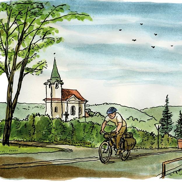 Jiří Bouda - Poutnický deník - Odjezd od kostelíka sv. Matěje v Praze 2003, malba, akvarel
