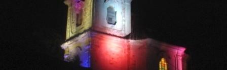 Kostel Narození Panny Marie v Poříčanech svátečně nasvícený v Noci kostelů Foto: redakce