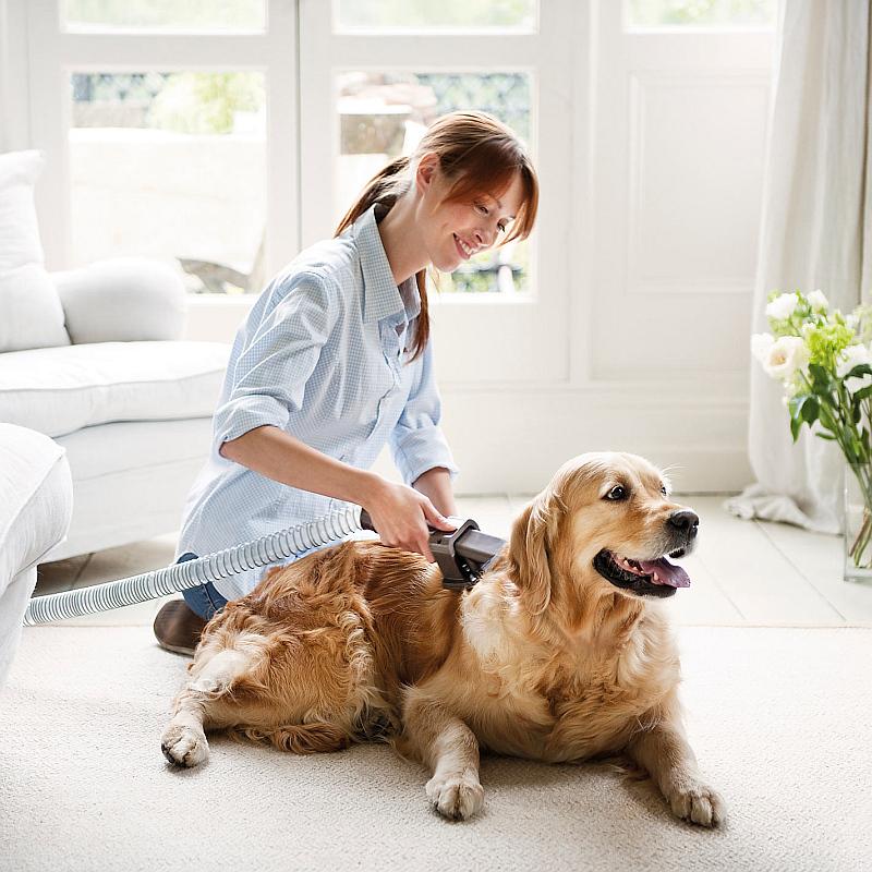 Chlupy jsou v domácnostech jedním z nejčastějších zdrojů nepořádku. Proto se může hodit nástavec, kterým psa pohodlně vyčešete a chlupů se zbavíte ještě předtím, než skončí na podlaze, protože jsou rovnou nasávány do vysavače.  Foto: Dyson