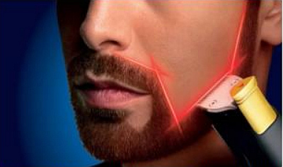 Laserová technologie Philips Laser Guide promítá v místech, kde chcete vousy upravovat, viditelnou červenou světelnou linii  Foto: Philips, oficiální zdroj
