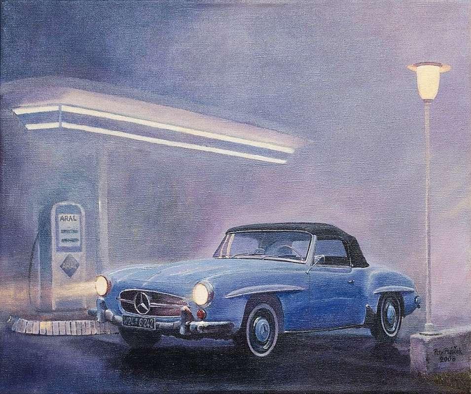 Petr Ptáček - V mlze (Mercedes-Benz 190SL), 60 x 80 cm, akryl na plátně, 2008 Foto: ArtForum, oficiální zdroj