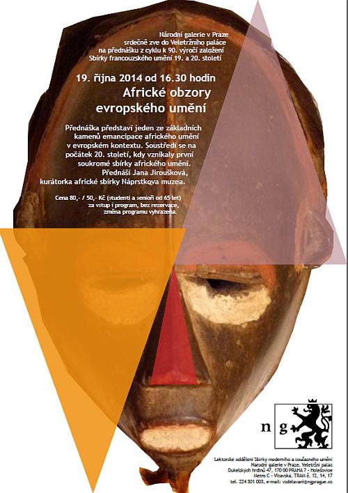 Plakát k přednášce Africké obzory evropského umění Oficiální zdroj: NG v Praze