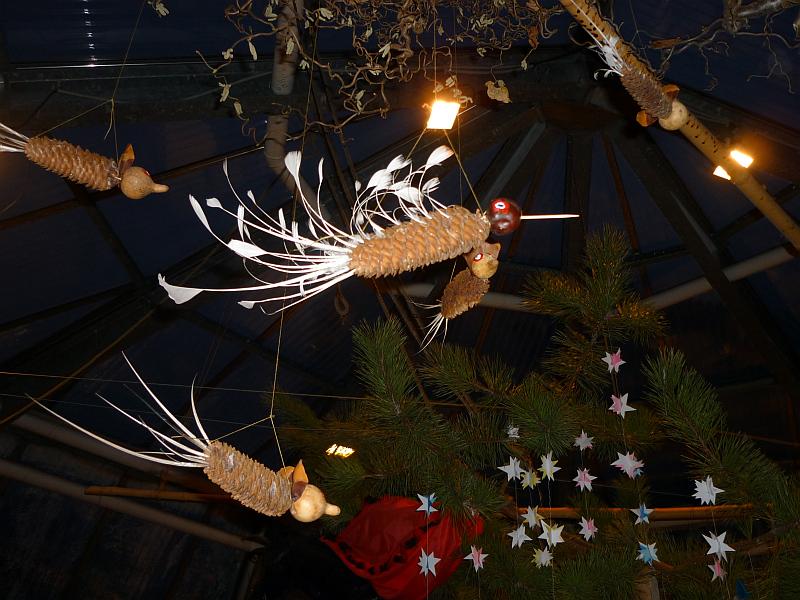 Vánoční výstava v Botanické zahradě: Ptáčci ze šišek s ocásky z brků Foto: e-Newspeak