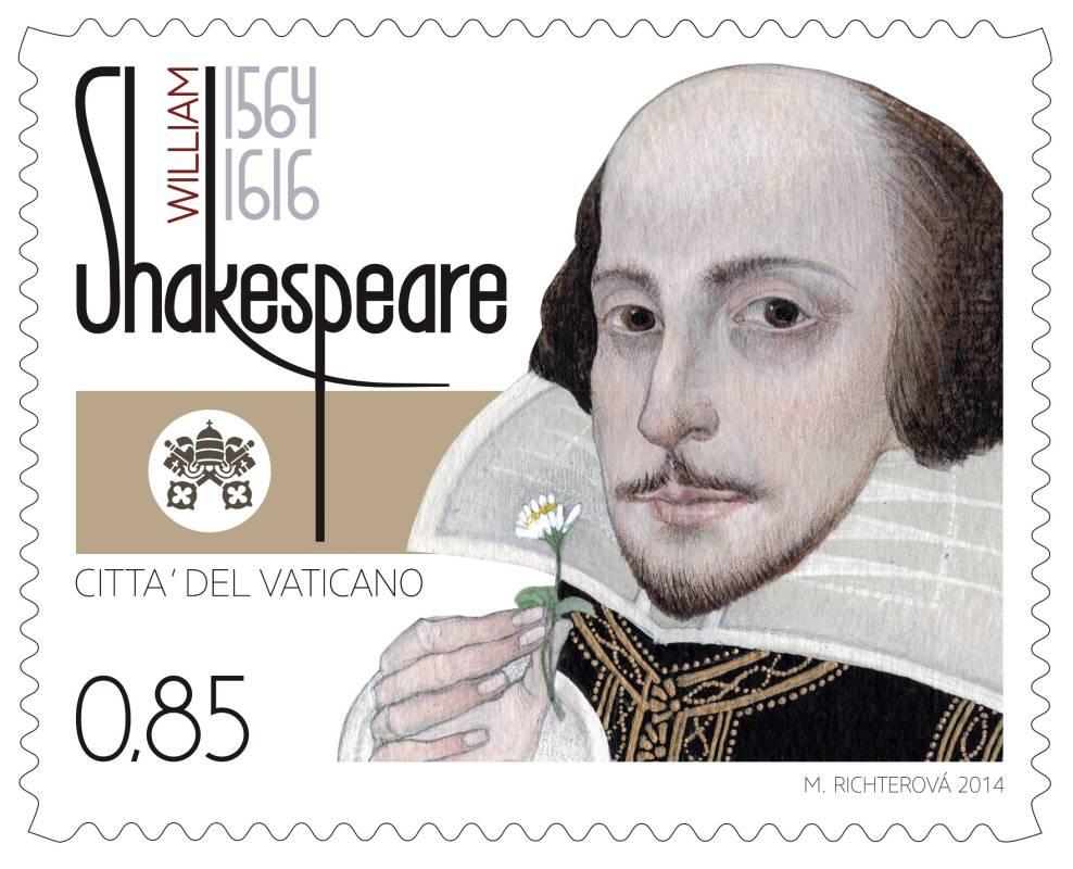 ArtForum: Marina Richterová - návrh známky ke 450. výročí narození Williama Shakespeara pro vanikánskou poštu Foto: ArtForum, oficiální zdroj