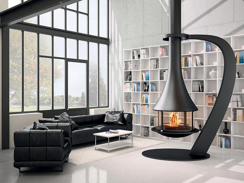 Krb Zelia 908 Central vyráběný pro výšku stropu konkrétní místnosti. Těleso o Ø 95 cm. Minimální potřebné rozměry průřezu kouřovodu jsou 30 x 30 cm nebo vnitřní Ø 28 cm. Krb je dodáván výhradně v šedém antracitovém provedení, odolném vůči vysokým teplotám, spolu s roštem, popelníkem, uzavírací klapkou kouřovodu. Výrobce J. C. BORDELET,  prodej a stavba TOPSYS Praha Foto: TOPSYS, oficiální zdroj