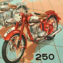 plakát k Výstavě motocyklů JAWA Oficiální zdroj: Chvalský zámek