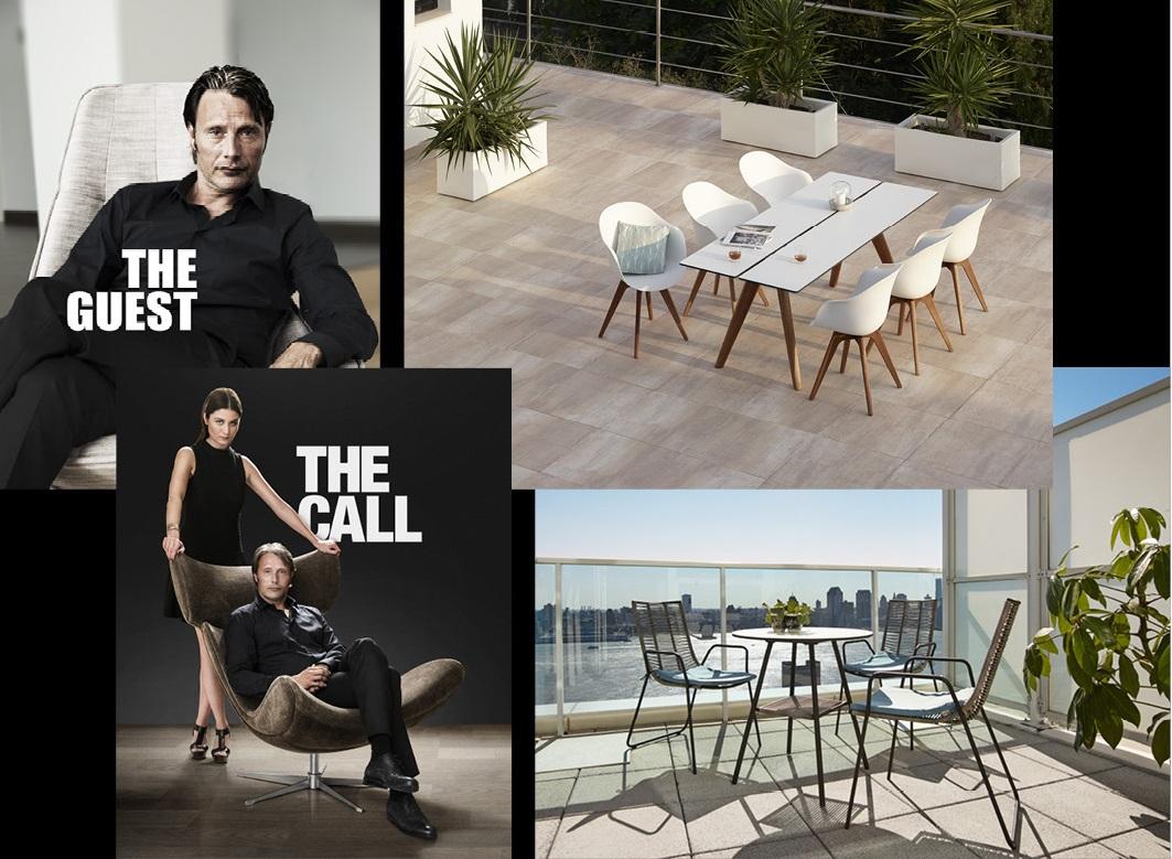 Mads Mikkelsen, Malin Buska a nová kolekce venkovního nábytku Adelaide (nahoře) a Elba  Foto: BoConcept, oficiální zdroj