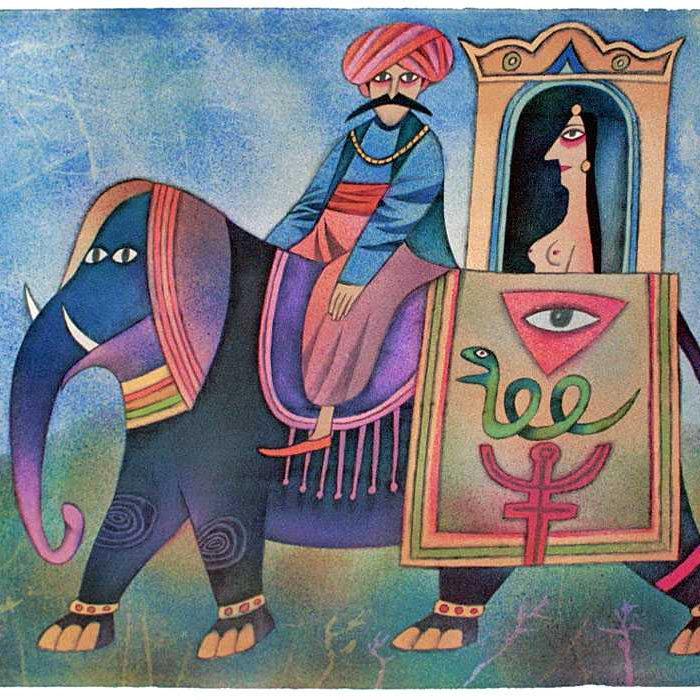 Adolf Born: PUTOVÁNÍ PO INDII 2002, litografie, 49 x 66 cm Foto: ArtForum, oficiální zdroj
