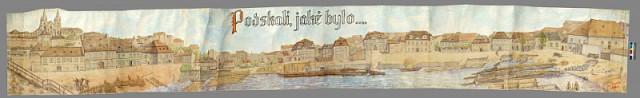 Podskali,jaké bylo, a jak je podle starých fotografií namaloval roku 1976 člen Vltavanu prof. Jaroslav Daněk Foto: Spolek Vltavan v Praze, oficiální zdroj