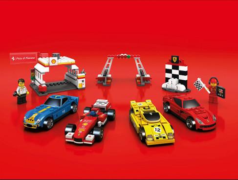 Shell V-Power LEGO® Collection: zleva po směru hodinových ručiček): čerpací stanice Shell a minifigurka vědce; cílová rovinka a stupeň vítězů s minifugurkou; Ferrari F12berlinetta; Ferrari 512 S; Ferrari F138; Ferrari 250 GTO Republic, oficiální zdroj