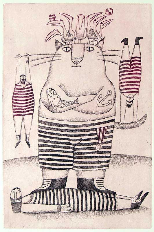 Adolf Born: CIRKUSOVÉ ČÍSLO S KOCOUREM, lept Foto: ArtForum, oficiální zdroj