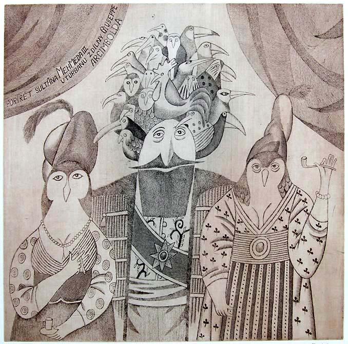 Adolf Born: PORTRÉT SULTÁNA MEHMEDA III. V TURBANU Z DÍLNY G. ARCIMBOLDA, lept Foto: ArtForum, oficiální zdroj