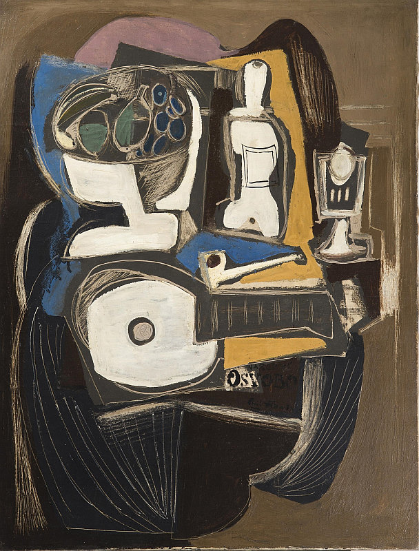 Aukce Dorothea: Emil Filla - Zátiší na stolku s mandolínou, vínem, sklenicí a podnosem, olej na plátně, 117 x 89 cm, 1931 Foto: archiv Dorotheum