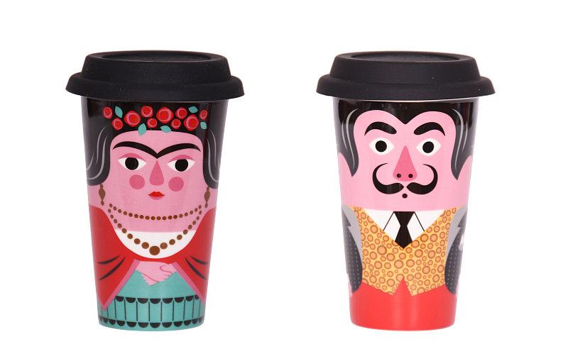 Cestovní termo hrnky Frida s motivem Fridy Kahlo a s motivem Salvadora Dalího design OMM Design, cena 445 Kč za kus Foto: Designville.cz, oficiální zdroj