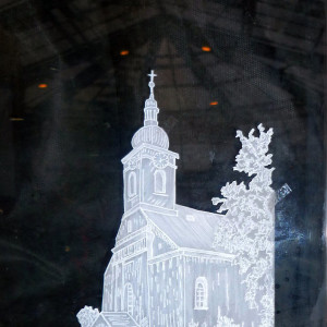 Vánoční výstava - Eva Hájková - Kostelík v Pražmu, pergamen