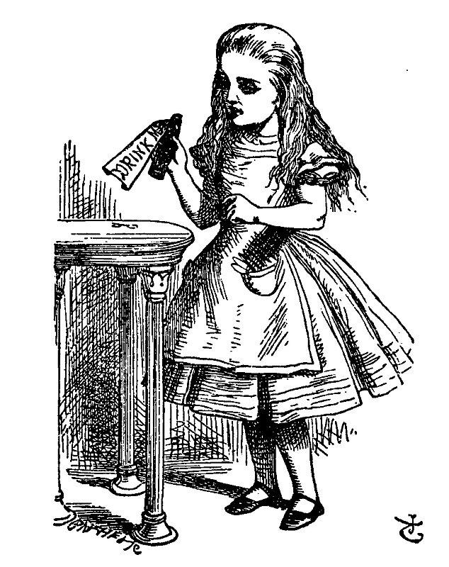 Lewis Carroll: Alenka v říši divů a za zrcadlem, ilustrace John Tenniel Zdroj: Wikimedia Commons