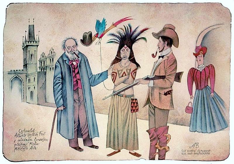 Adolf Born: CESTOVATEL FRIČ S INDIÁNEM ČERWUIŠEM A MIKOLÁŠEM ALŠEM 2000, 38 x 54 cm Foto: ArtForum, oficiální zdroj