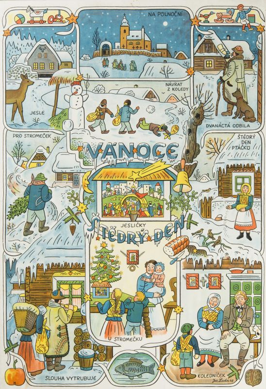 Josef Lada - Vánoce, signováno a datováno ve štočku Jos. Lada 48., barevná litografie/papír fixovaný na kartonu, 89 x 61,5 cm Foto: archiv Dorotheum, oficiální zdroj
