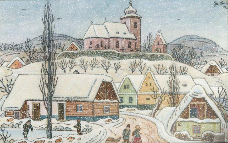 Josef Lada - Zima na vsi Foto: archiv Dorotheum, oficiální zdroj