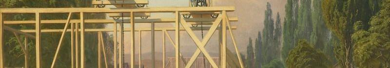 Carl Robert Croll (1800-1863): Stavba mostu na ostrově Štvanici, 1846-1847, olejomalba Foto: MHMP, oficiální zdroj