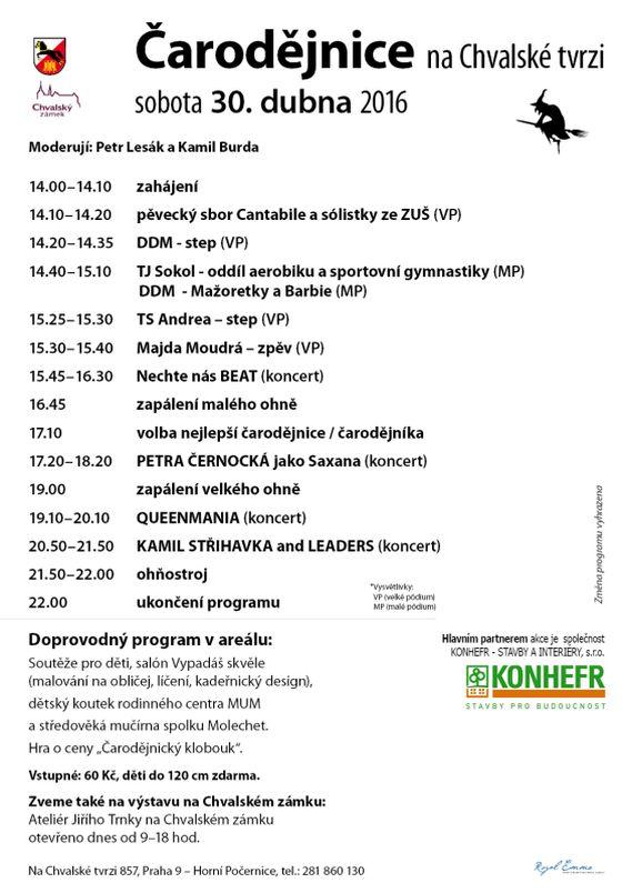 Chvalský zámek: Čarodějnice - plakát s programem Oficiální zdroj: Chvalský zámek