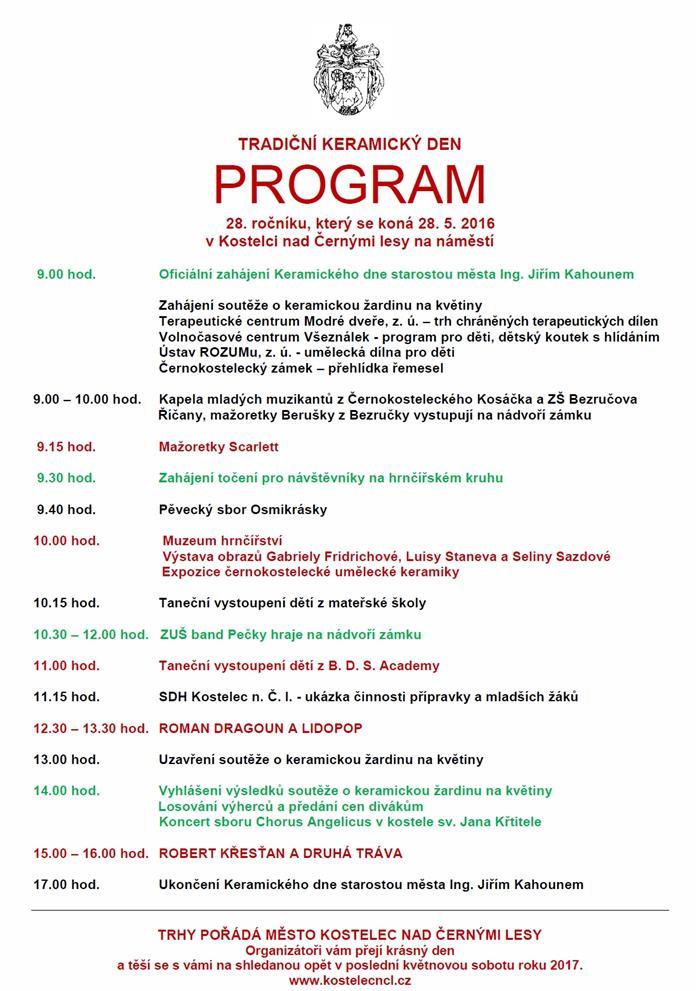 Program Keramického dne v Kostelci n/Č.l. Oficiální zdroj: Město Kostelec nad Černými lesy