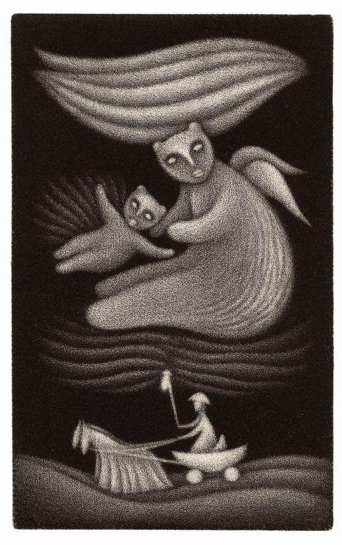 Jan Hísek: ilustrace k pohádce Vratislava Maňáka O Nebesáři  Foto: Galerie Villa Pellé, oficiální zdroj