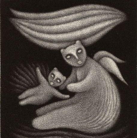 Jan Hísek: ilustrace k pohádce Vratislava Maňáka O Nebesáři (detail) Foto: Galerie Villa Pellé, oficiální zdroj