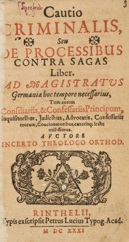 Friedrich Spee von Langenfeld: Cautio Criminalis, 1631 Foto: archiv Dorotheum