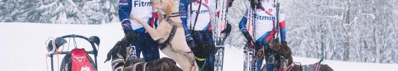 Čeští musheři: Jiří Mencák, Michal Ženíšek a Michaela Srchová se svými psími závodníky Foto: Fitmin, oficiální zdroj