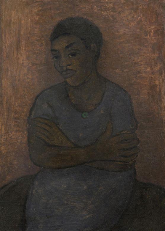Alén Diviš - edící černoška, nesignováno, na zadní straně popsáno autorem a datováno rue de Vanves 1938, olej/plátno, 72 x 53,5 cm, vyvolávací cena 120 tisíc korun Foto: Dorotheum, oficiální zdroj