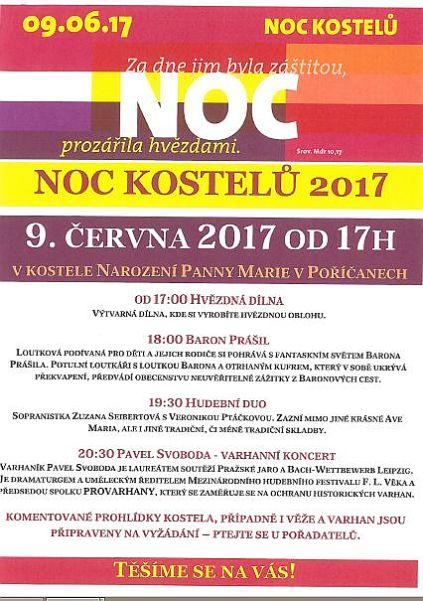 Noc kostelů 2017 Poříčany - plakát Oficiální zdroj: Kostel 1872