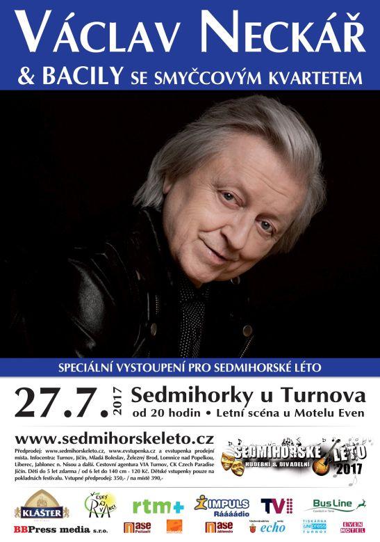 Koncert Václava Neckáře - plakát Oficiální zdroj: Sedmihorské léto