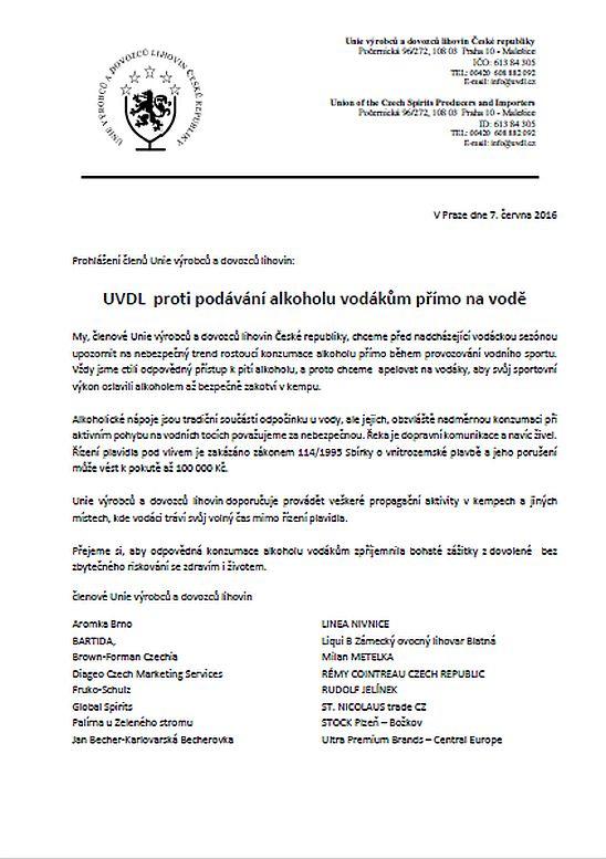 Prohlášení členů UVDL Oficiální zdroj: UVDL