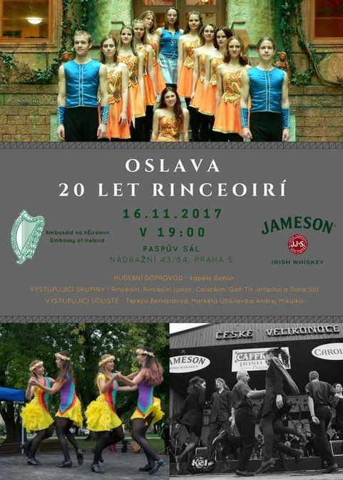 Oslava 20 let Klubu irských tanců Rinceoirí - plakát Foto: Rinceoirí, oficiální zdroj
