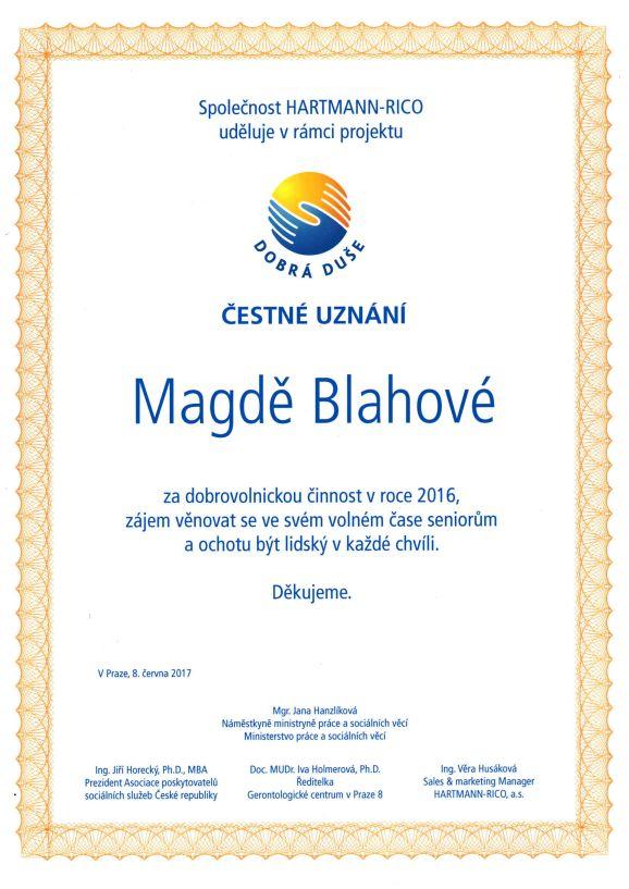 Magda Bláhová - ocenění Dobrá duše 2016 Foto: Alzheimercentrum, oficiální zdroj