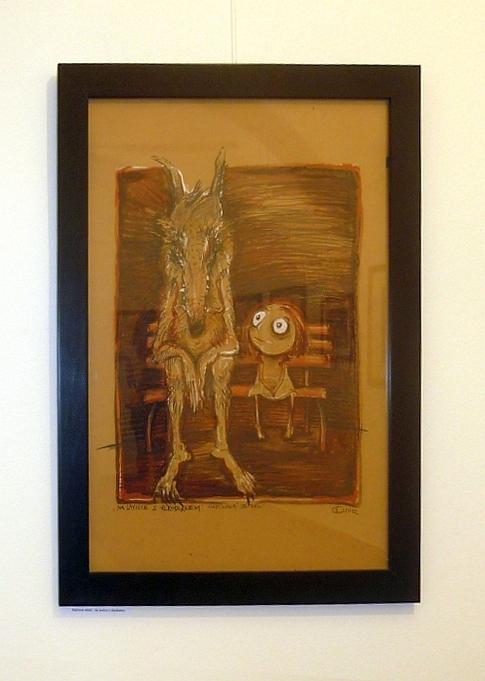 A&A Galerie Denisa Grimmová - Napínavá setkání: Na lavičce s vlkodlakem, kombinovaná technika, 2012 Foto: e-Newspeak